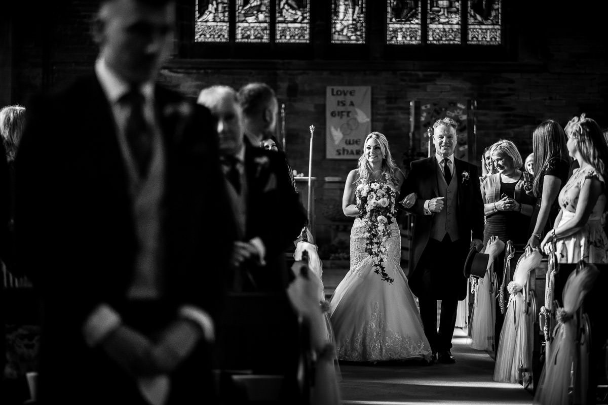 bride arriving at christ church walshaw