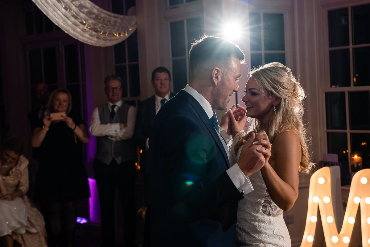 wedding couple first dance at mitton hall