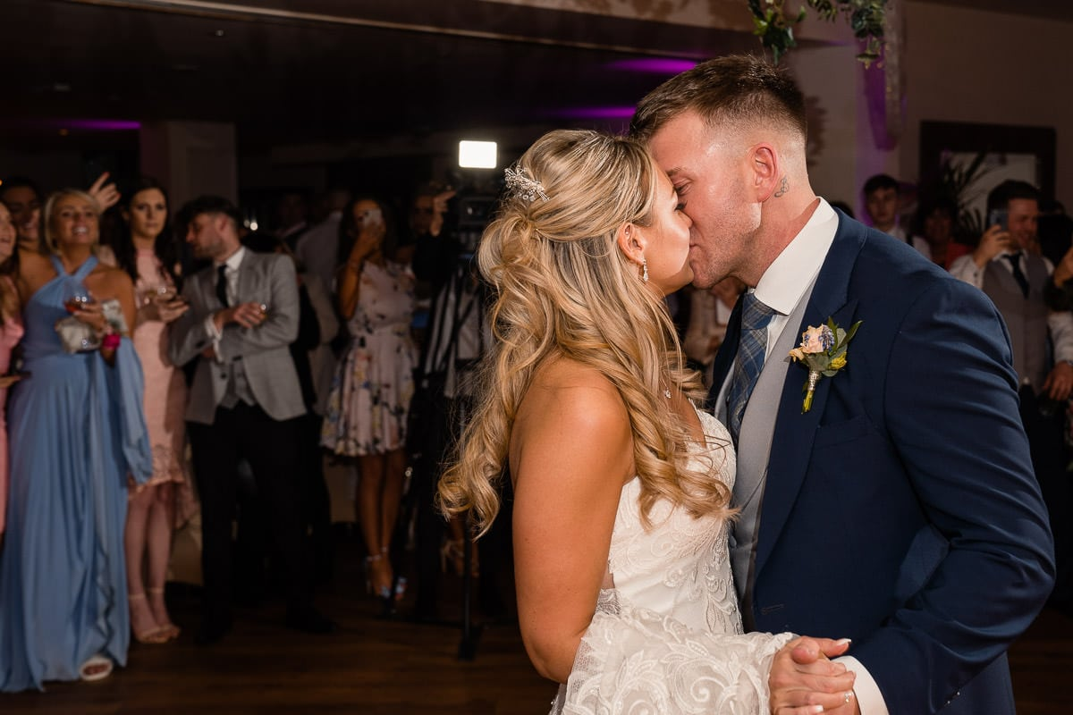 first dance kiss at mitton hall