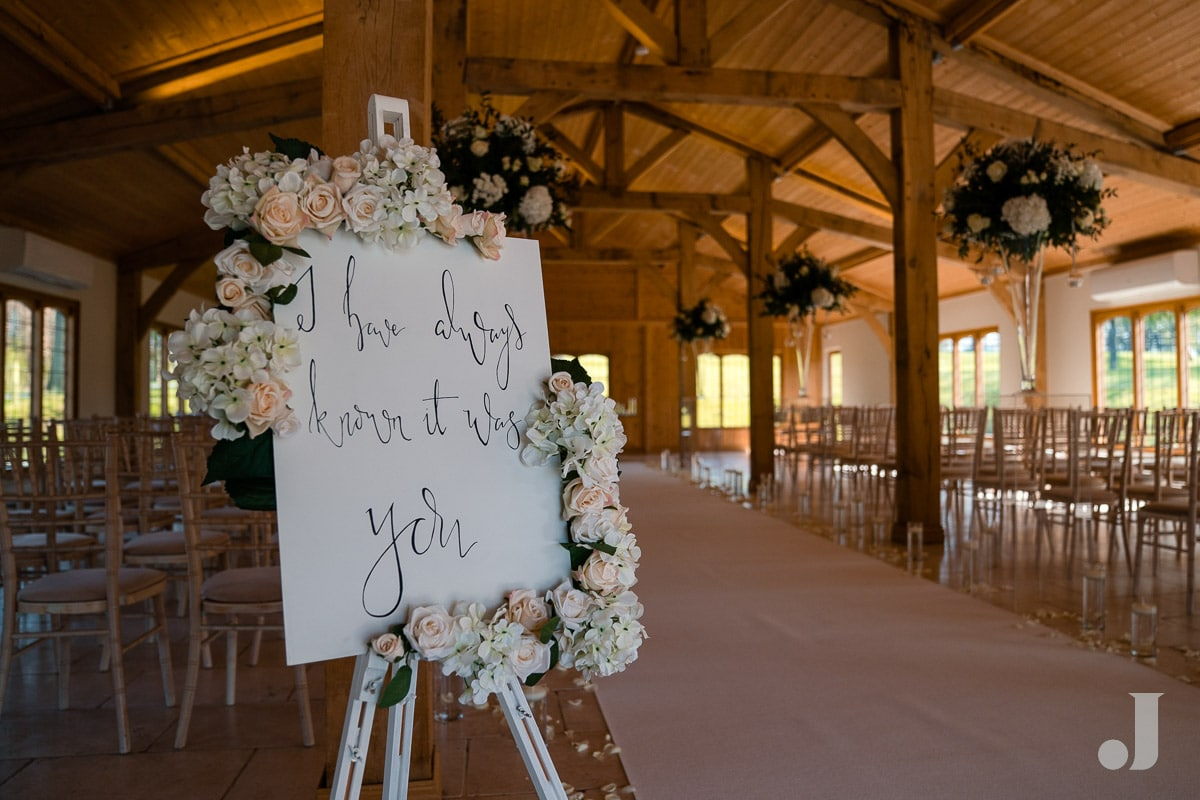 wedding sign at Colshaw Hall