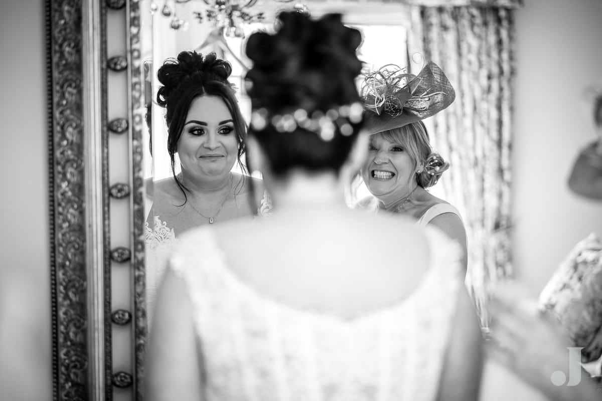 bride and mum smiling