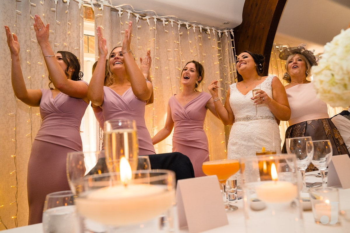 cheering bridesmaids at Colshaw Hall