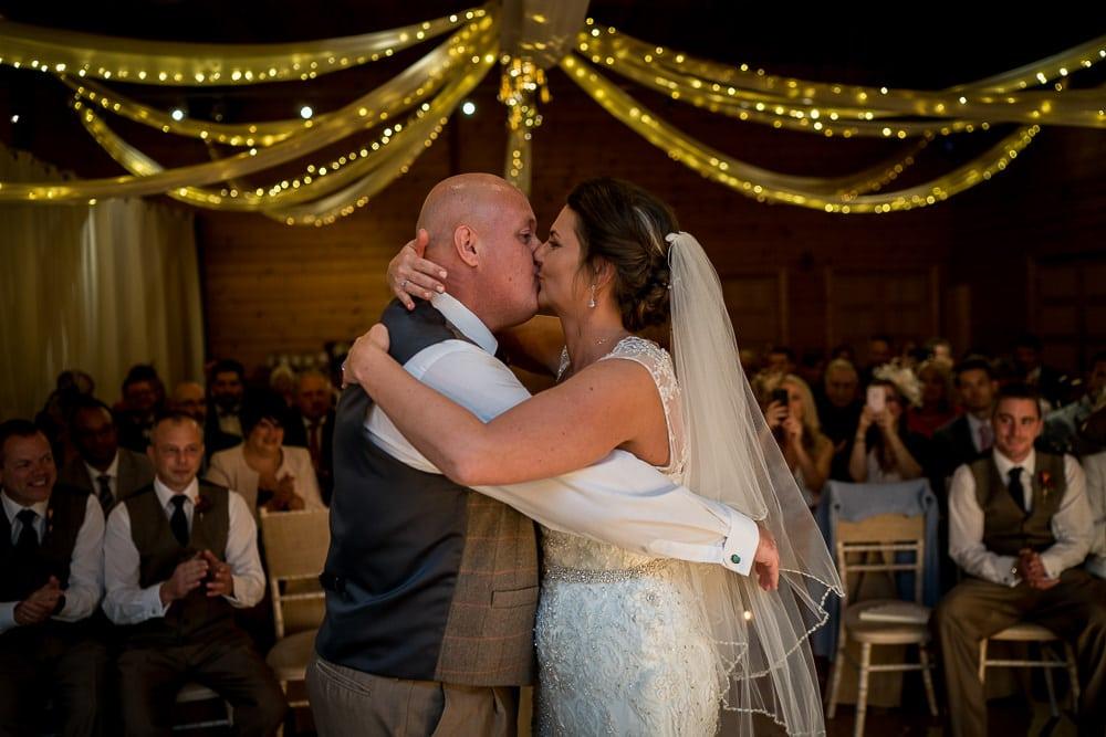 wedding kiss at styal lodge