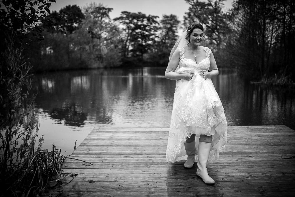 bride in her wellies at styal lodge