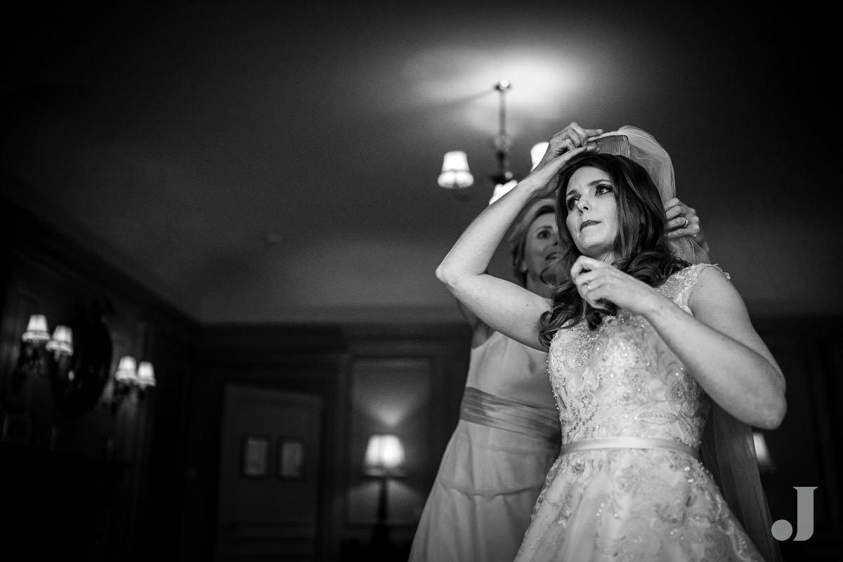 bride in her veil atThornton Manor