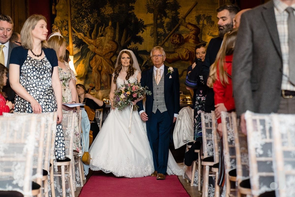 bride walking up the aisle at Thornton Manor