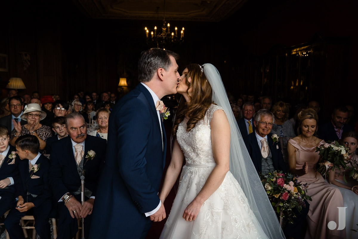 first kiss at Thornton Manor wedding