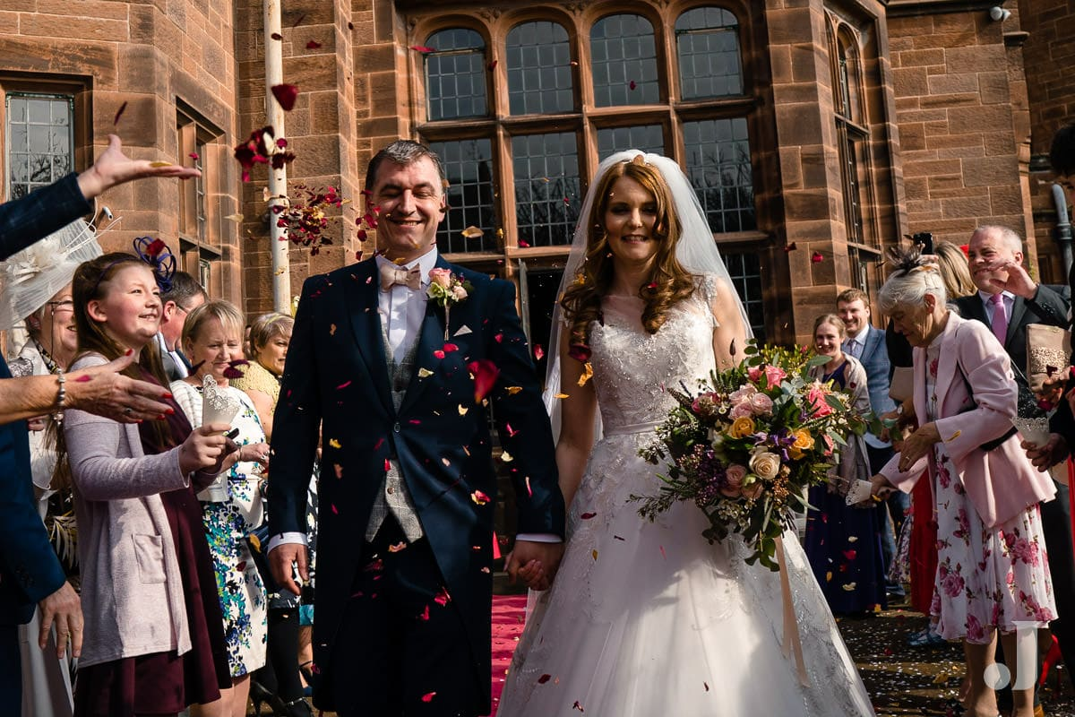 confetti at Thornton Manor wedding