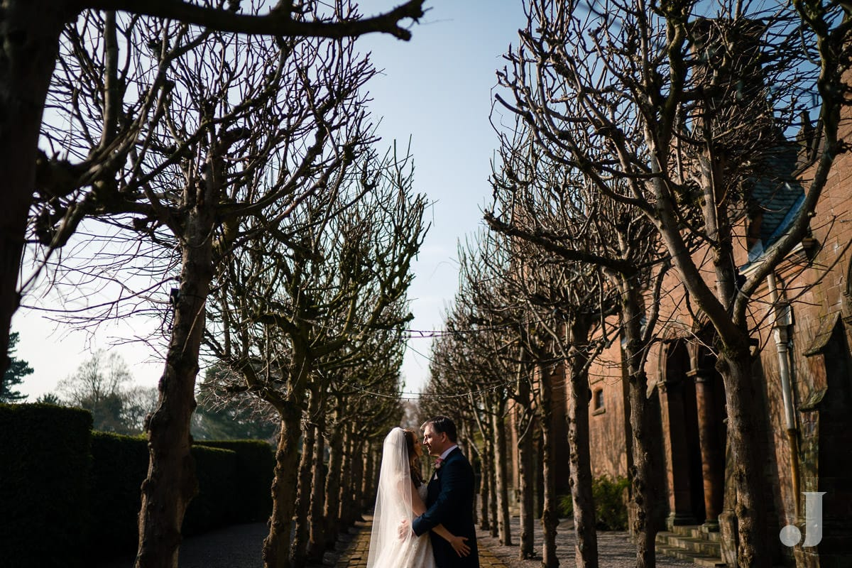 wide angle of trees at Thornton Manor