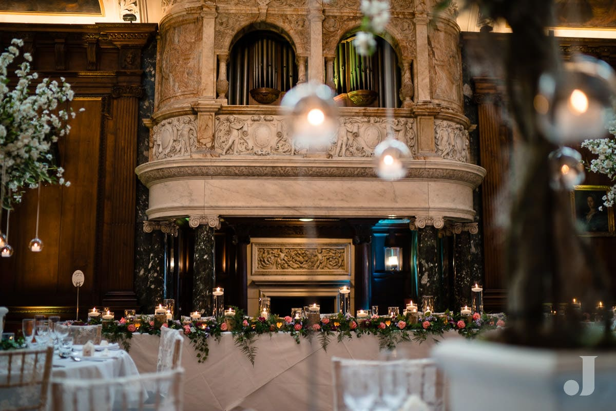 wedding breakfast room at Thornton Manor