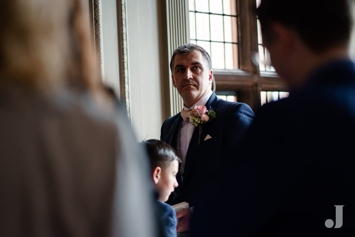 groom at Thornton Manor wedding
