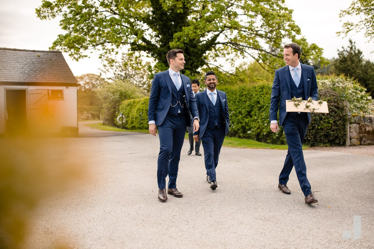 groom arriving at the holford estate