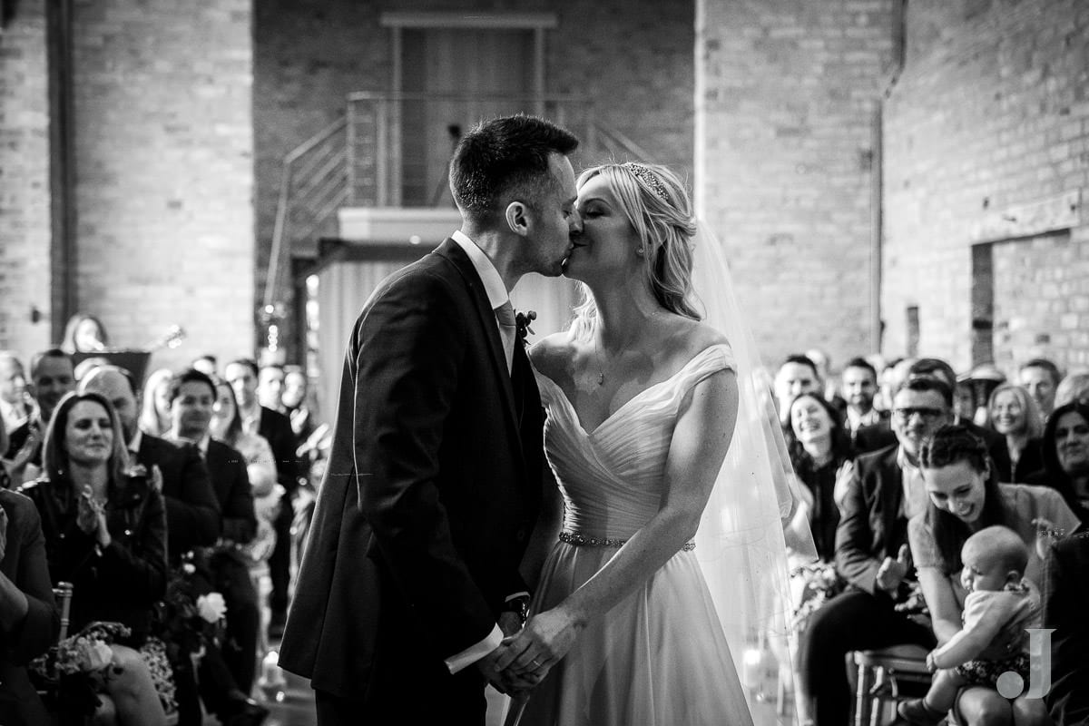 first kiss at the holford estate wedding